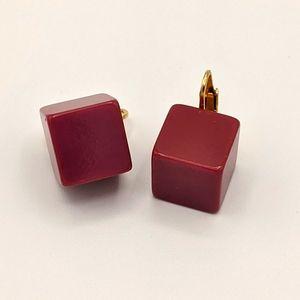 VTG Bakelite TESTED MCM Raspberry Cube Earrings